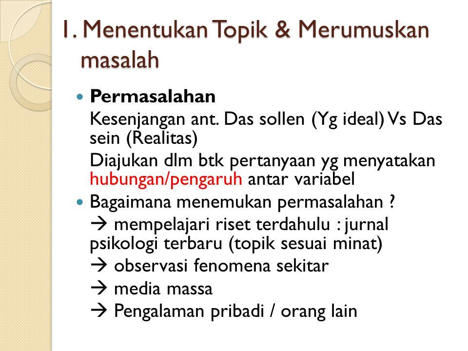 1. Menentukan Topik & Merumuskan masalah Permasalahan Kesenjangan ant. Das sollen (Yg ideal) Vs Das sein (Realitas) Diajukan dlm btk pertanyaan yg men