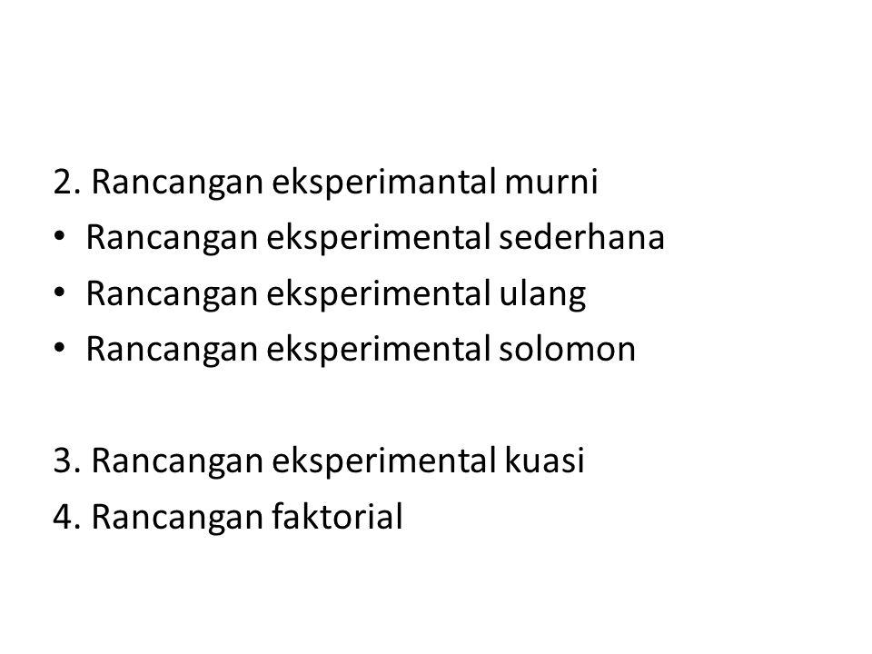 2. Rancangan eksperimantal murni Rancangan eksperimental sederhana Rancangan eksperimental ulang Rancangan eksperimental solomon 3. Rancangan eksperim