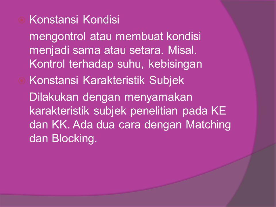  Konstansi Kondisi mengontrol atau membuat kondisi menjadi sama atau setara.