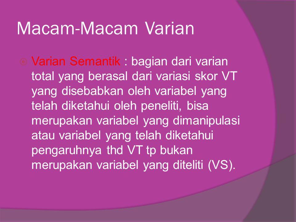Macam-Macam Varian  Varian Semantik : bagian dari varian total yang berasal dari variasi skor VT yang disebabkan oleh variabel yang telah diketahui oleh peneliti, bisa merupakan variabel yang dimanipulasi atau variabel yang telah diketahui pengaruhnya thd VT tp bukan merupakan variabel yang diteliti (VS).