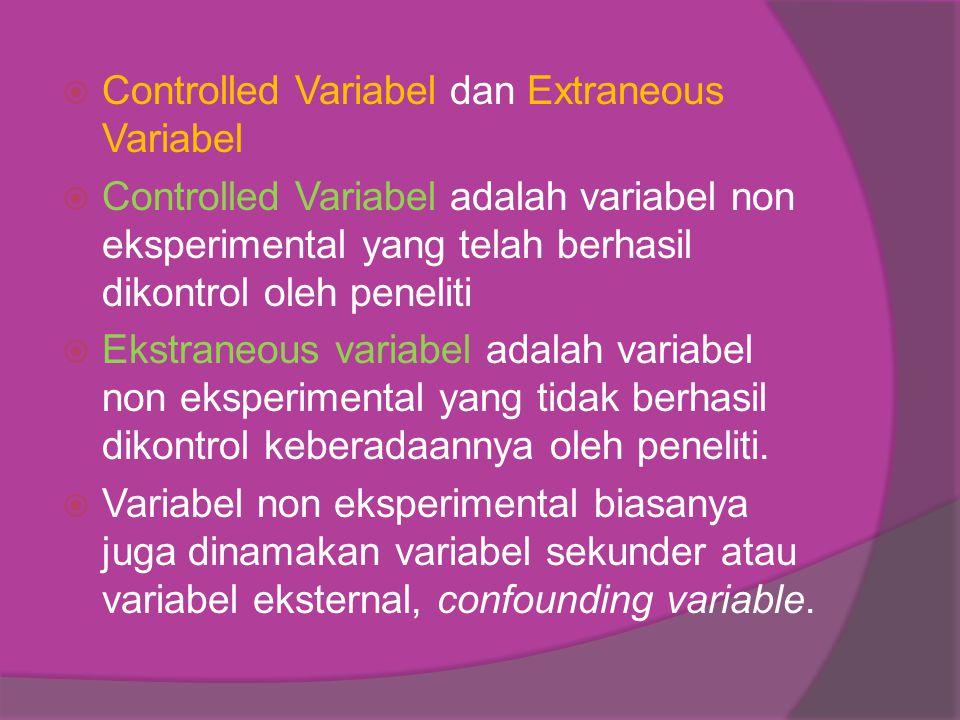  Controlled Variabel dan Extraneous Variabel  Controlled Variabel adalah variabel non eksperimental yang telah berhasil dikontrol oleh peneliti  Ekstraneous variabel adalah variabel non eksperimental yang tidak berhasil dikontrol keberadaannya oleh peneliti.