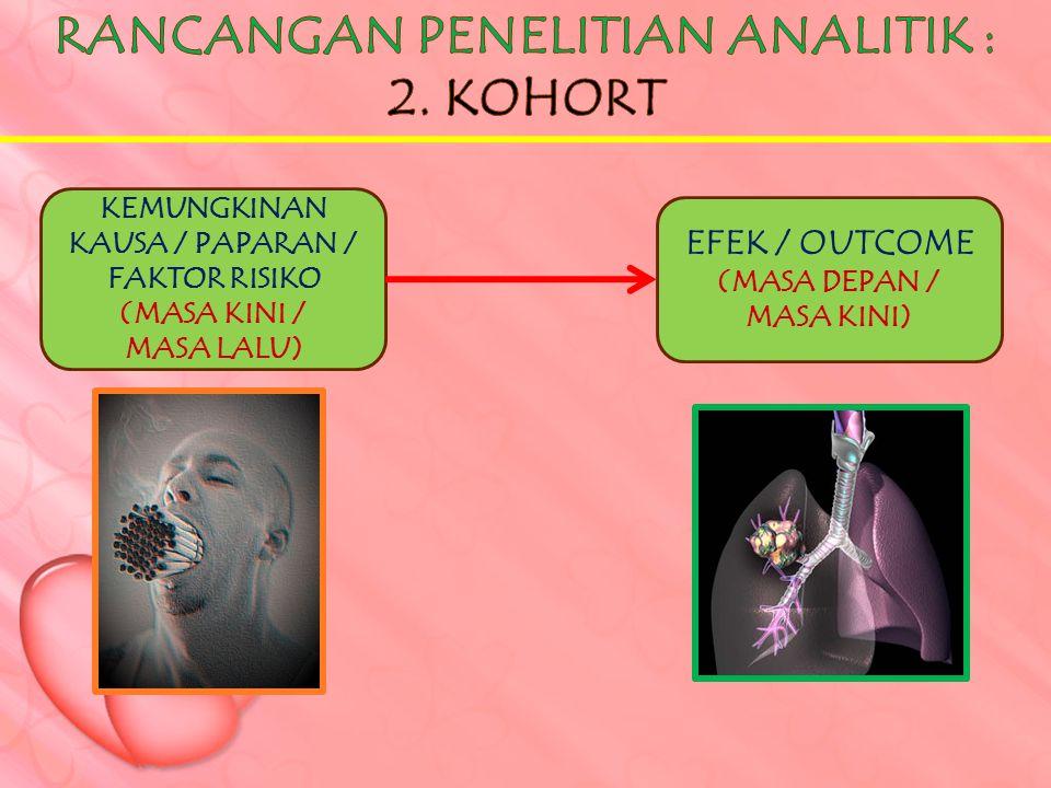 KEMUNGKINAN KAUSA / PAPARAN / FAKTOR RISIKO (MASA KINI / MASA LALU) EFEK / OUTCOME (MASA DEPAN / MASA KINI)