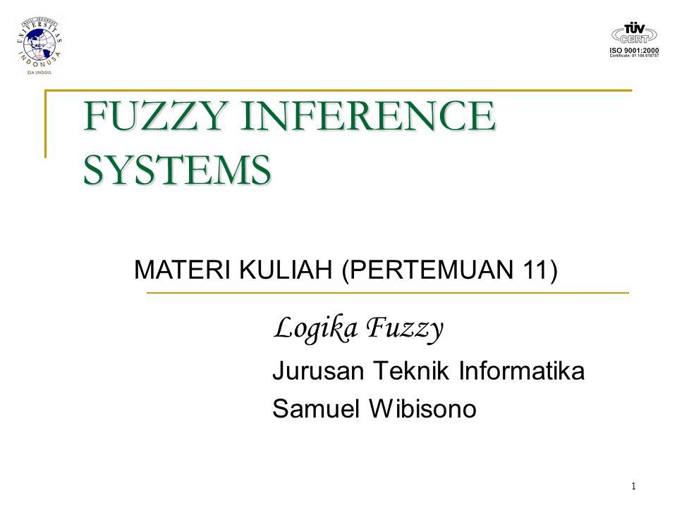 1 FUZZY INFERENCE SYSTEMS Logika Fuzzy Jurusan Teknik Informatika Samuel Wibisono MATERI KULIAH (PERTEMUAN 11)