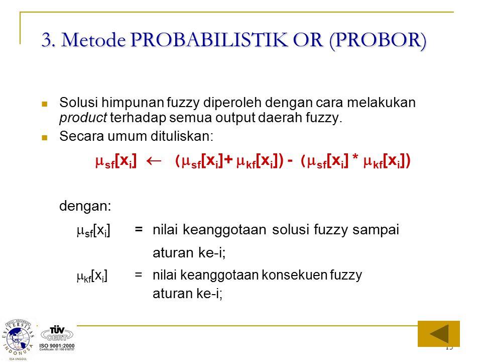 15 3. Metode PROBABILISTIK OR (PROBOR) Solusi himpunan fuzzy diperoleh dengan cara melakukan product terhadap semua output daerah fuzzy. Secara umum d