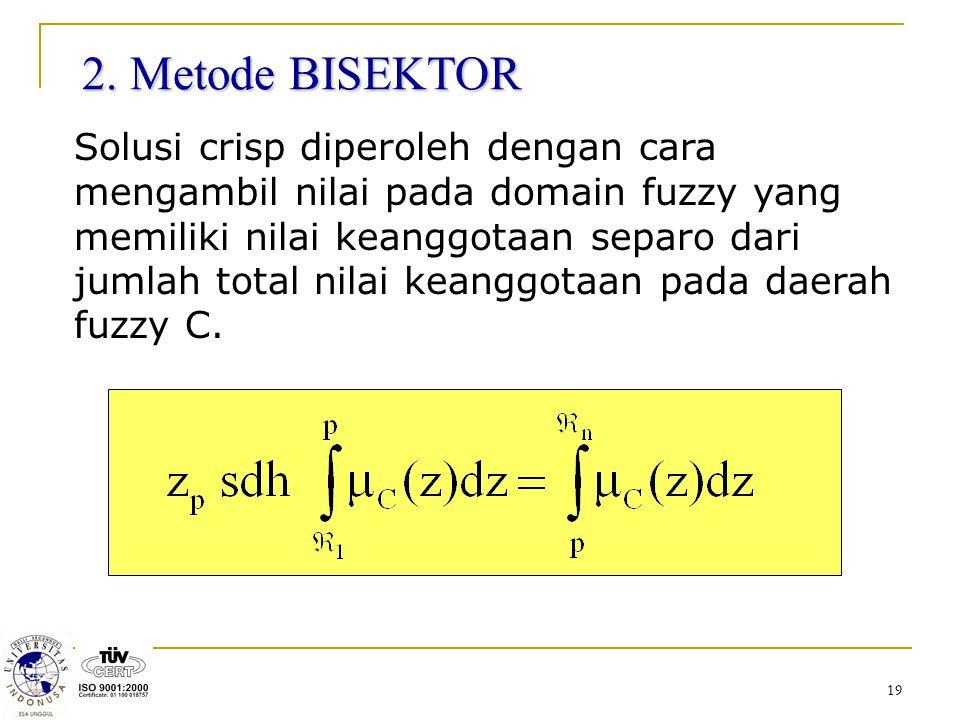 19 2. Metode BISEKTOR Solusi crisp diperoleh dengan cara mengambil nilai pada domain fuzzy yang memiliki nilai keanggotaan separo dari jumlah total ni
