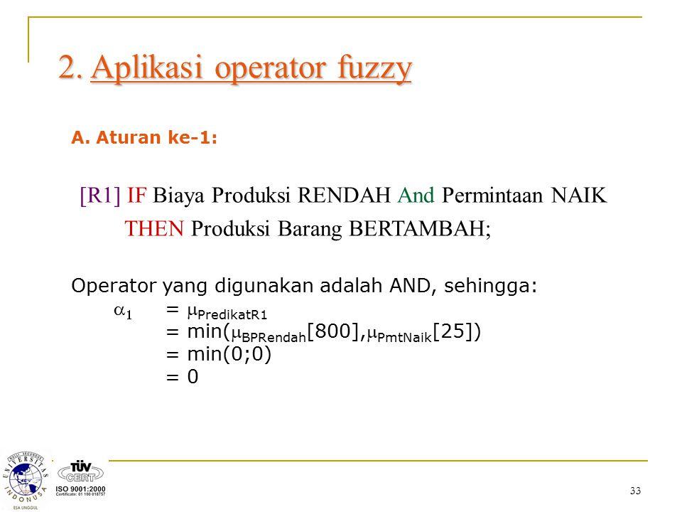 33 2. Aplikasi operator fuzzy A. Aturan ke-1: [R1] IF Biaya Produksi RENDAH And Permintaan NAIK THEN Produksi Barang BERTAMBAH; Operator yang digunaka