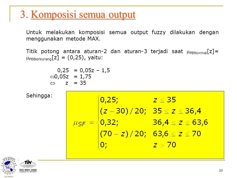 39 3. Komposisi semua output Untuk melakukan komposisi semua output fuzzy dilakukan dengan menggunakan metode MAX. Titik potong antara aturan-2 dan at
