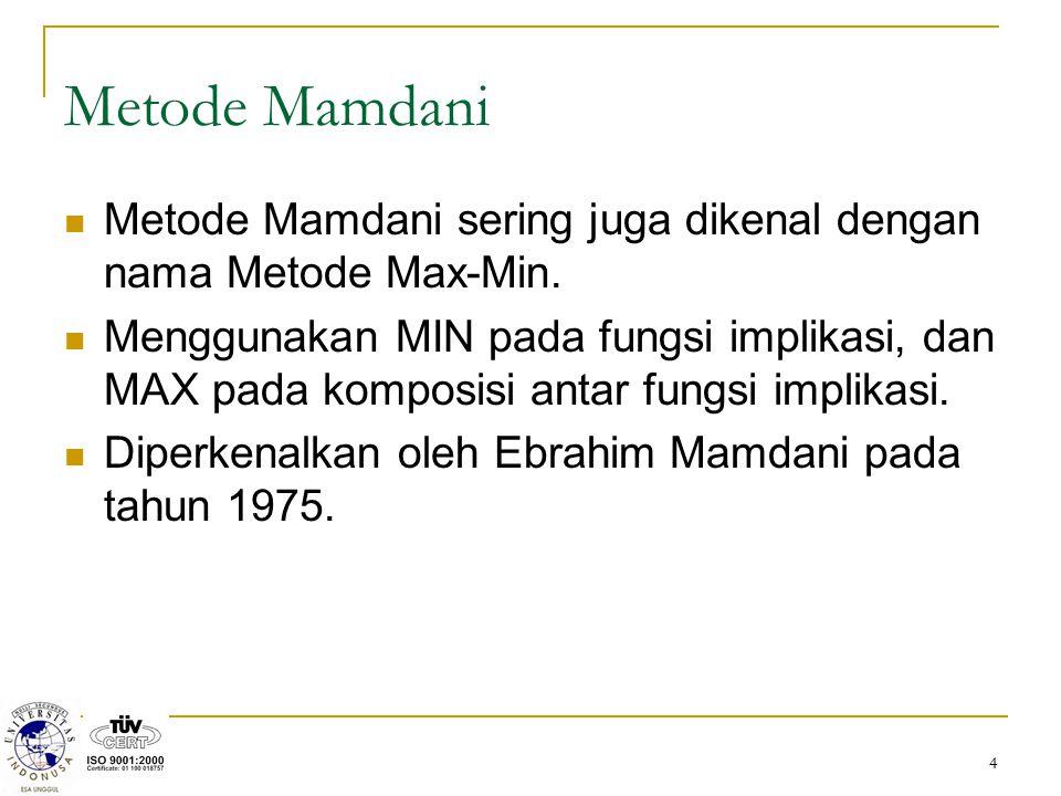4 Metode Mamdani Metode Mamdani sering juga dikenal dengan nama Metode Max-Min. Menggunakan MIN pada fungsi implikasi, dan MAX pada komposisi antar fu