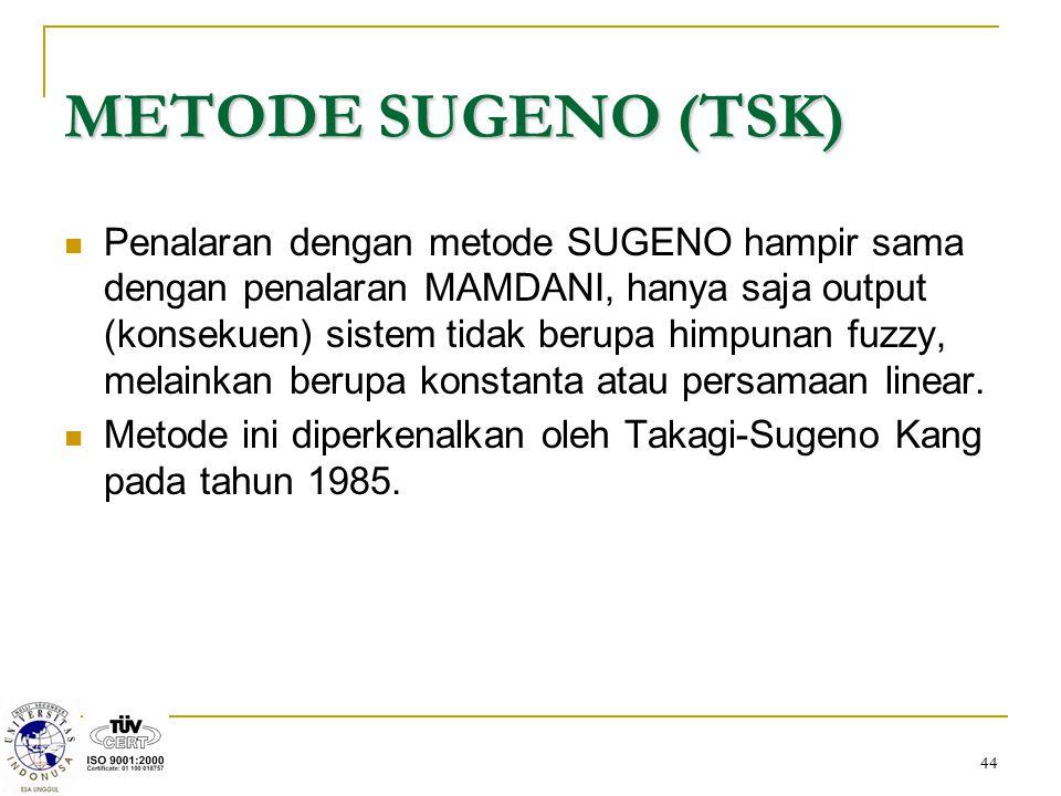 44 METODE SUGENO (TSK) Penalaran dengan metode SUGENO hampir sama dengan penalaran MAMDANI, hanya saja output (konsekuen) sistem tidak berupa himpunan