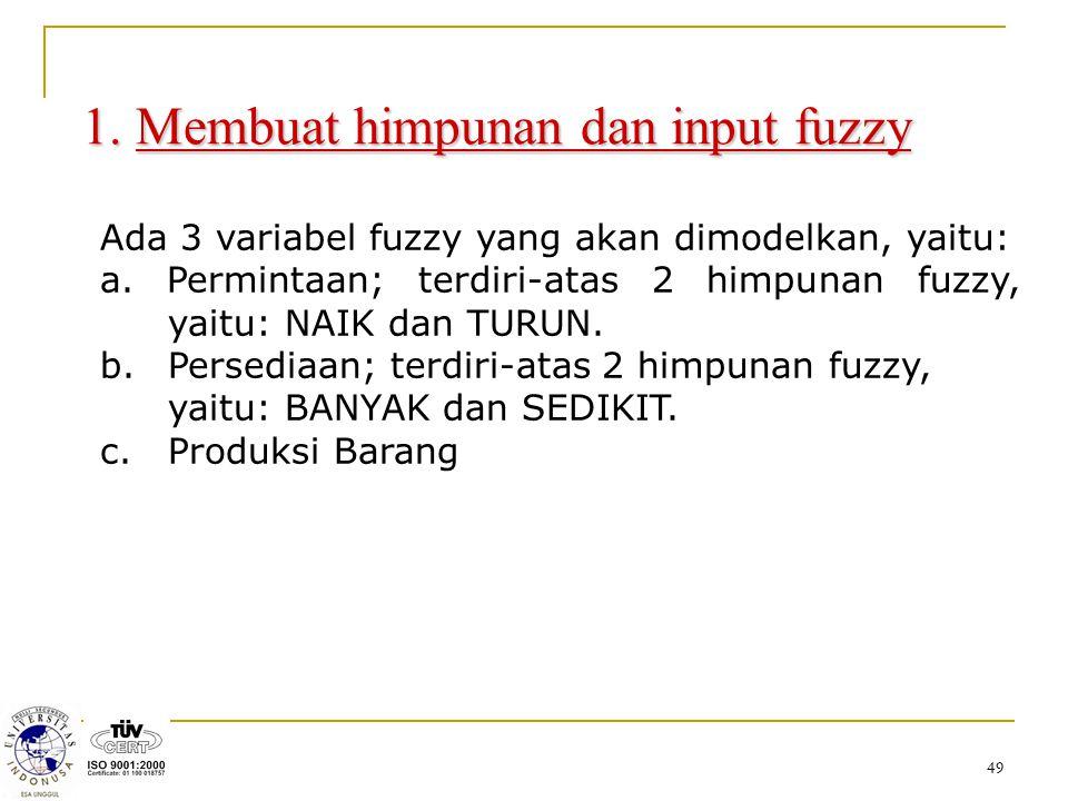 49 1. Membuat himpunan dan input fuzzy Ada 3 variabel fuzzy yang akan dimodelkan, yaitu: a. Permintaan; terdiri-atas 2 himpunan fuzzy, yaitu: NAIK dan