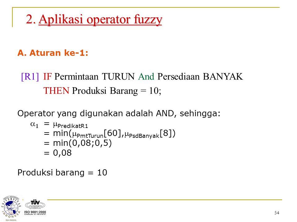 54 2. Aplikasi operator fuzzy A. Aturan ke-1: [R1] IF Permintaan TURUN And Persediaan BANYAK THEN Produksi Barang = 10; Operator yang digunakan adalah