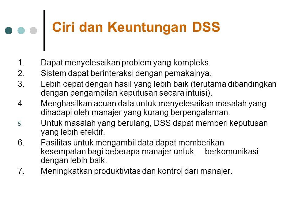 Ciri dan Keuntungan DSS 1. Dapat menyelesaikan problem yang kompleks. 2. Sistem dapat berinteraksi dengan pemakainya. 3. Lebih cepat dengan hasil yang