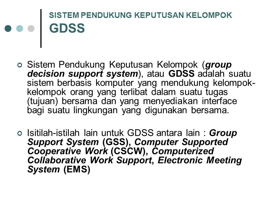 SISTEM PENDUKUNG KEPUTUSAN KELOMPOK GDSS Sistem Pendukung Keputusan Kelompok (group decision support system), atau GDSS adalah suatu sistem berbasis k