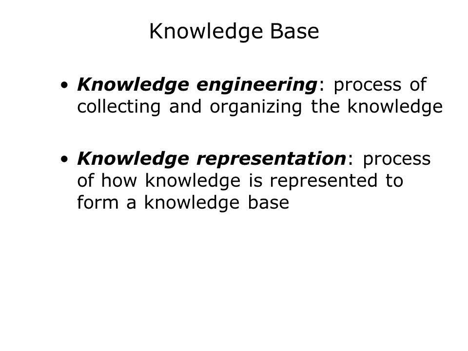 Knowledge Base Knowledge engineering: process of collecting and organizing the knowledge Knowledge representation: process of how knowledge is represe