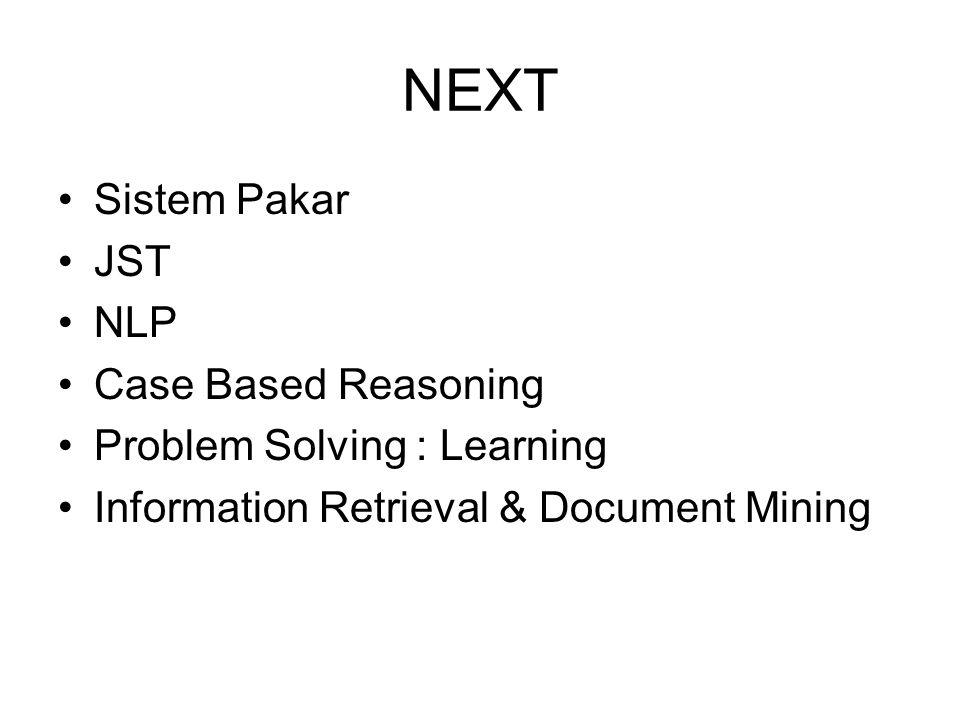 NEXT Sistem Pakar JST NLP Case Based Reasoning Problem Solving : Learning Information Retrieval & Document Mining