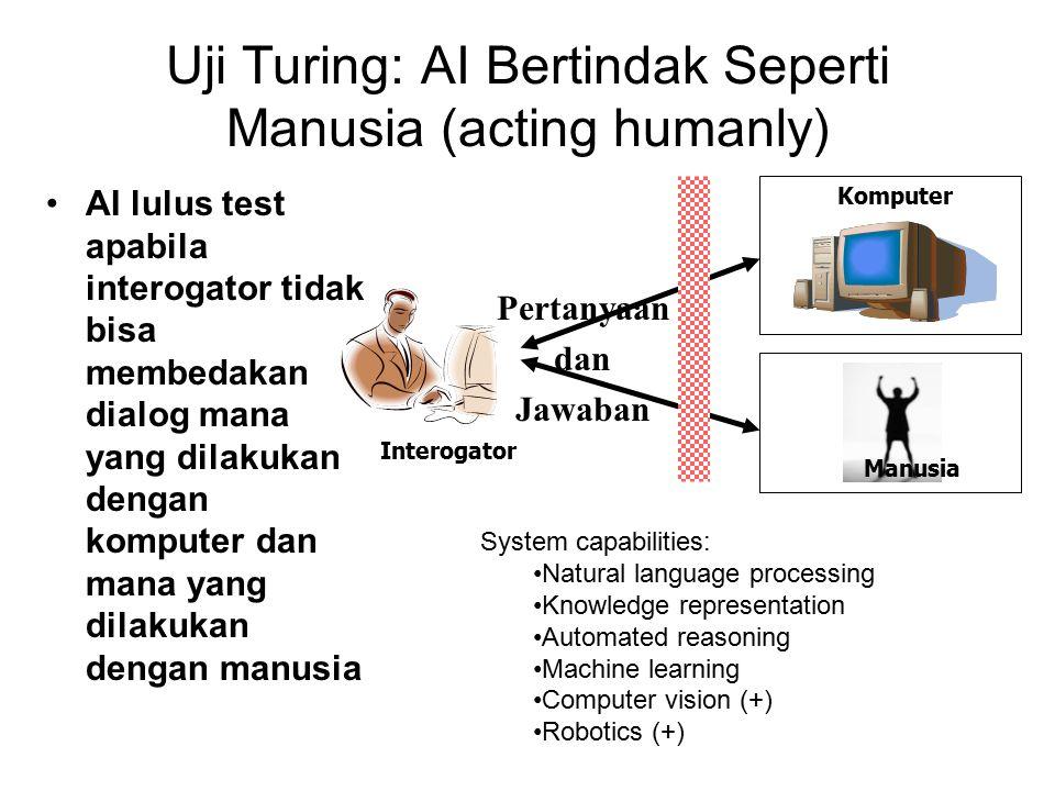 Uji Turing: AI Bertindak Seperti Manusia (acting humanly) AI lulus test apabila interogator tidak bisa membedakan dialog mana yang dilakukan dengan komputer dan mana yang dilakukan dengan manusia Pertanyaan dan Jawaban Interogator Komputer Manusia System capabilities: Natural language processing Knowledge representation Automated reasoning Machine learning Computer vision (+) Robotics (+)