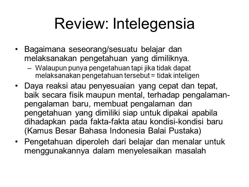 Review: Intelegensia Bagaimana seseorang/sesuatu belajar dan melaksanakan pengetahuan yang dimiliknya. –Walaupun punya pengetahuan tapi jika tidak dap