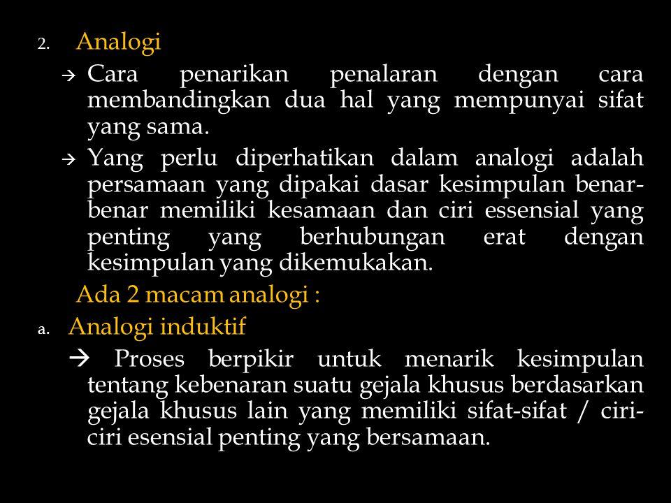 2. Analogi  Cara penarikan penalaran dengan cara membandingkan dua hal yang mempunyai sifat yang sama.  Yang perlu diperhatikan dalam analogi adalah