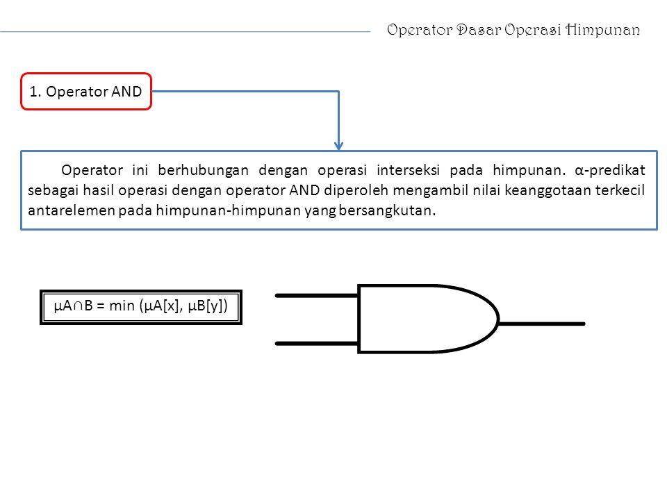 Operator Dasar Operasi Himpunan 1. Operator AND Operator ini berhubungan dengan operasi interseksi pada himpunan. α-predikat sebagai hasil operasi den