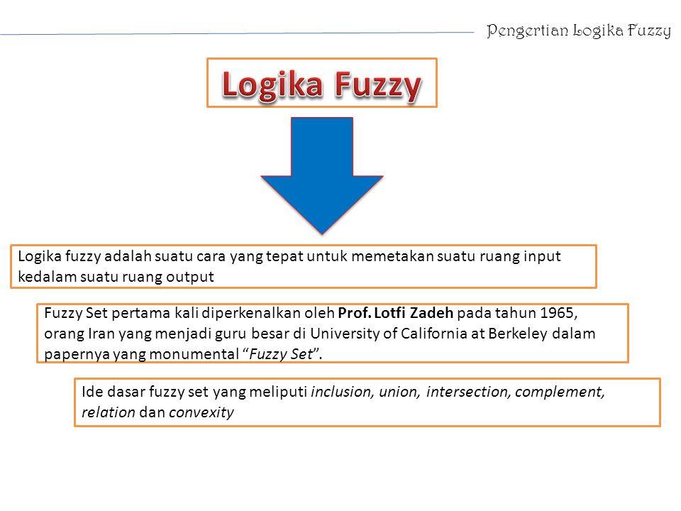 Pengertian Logika Fuzzy Logika fuzzy adalah suatu cara yang tepat untuk memetakan suatu ruang input kedalam suatu ruang output Fuzzy Set pertama kali