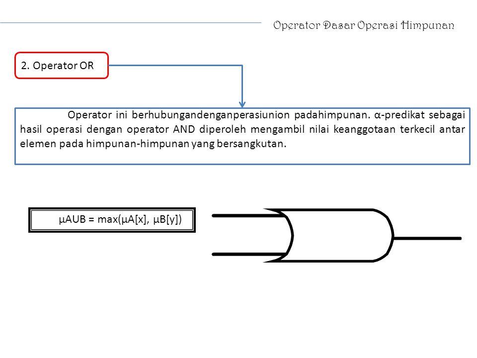 Operator Dasar Operasi Himpunan 2. Operator OR Operator ini berhubungandenganperasiunion padahimpunan. α-predikat sebagai hasil operasi dengan operato