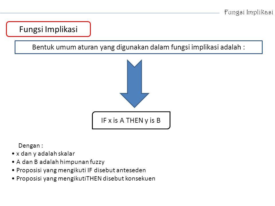 Fungsi Implikasi Bentuk umum aturan yang digunakan dalam fungsi implikasi adalah : IF x is A THEN y is B Dengan : x dan y adalah skalar A dan B adalah