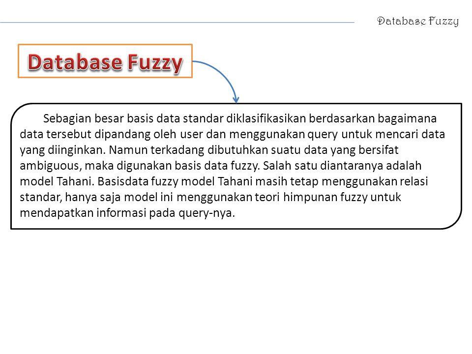 Database Fuzzy Sebagian besar basis data standar diklasifikasikan berdasarkan bagaimana data tersebut dipandang oleh user dan menggunakan query untuk