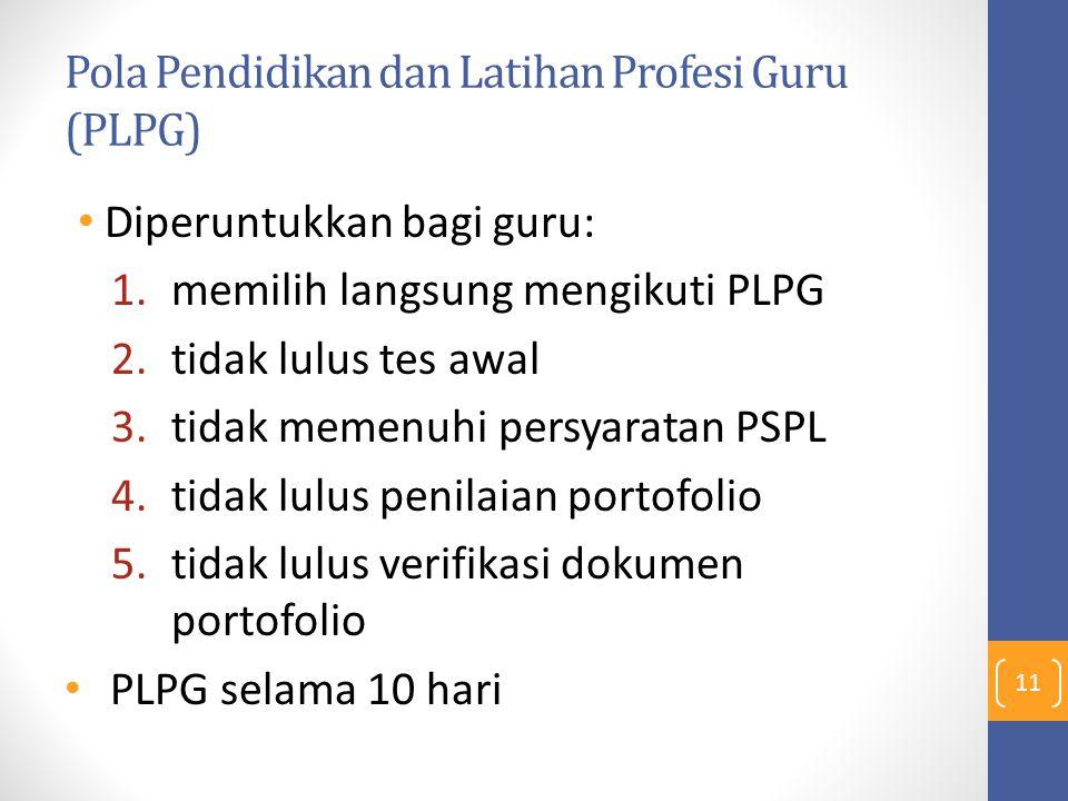 Pola Pendidikan dan Latihan Profesi Guru (PLPG) Diperuntukkan bagi guru: 1.memilih langsung mengikuti PLPG 2.tidak lulus tes awal 3.tidak memenuhi per