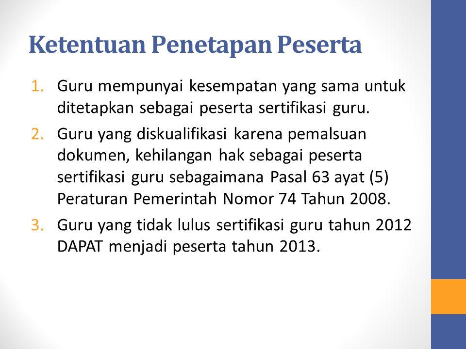 Ketentuan Penetapan Peserta 1.Guru mempunyai kesempatan yang sama untuk ditetapkan sebagai peserta sertifikasi guru. 2.Guru yang diskualifikasi karena