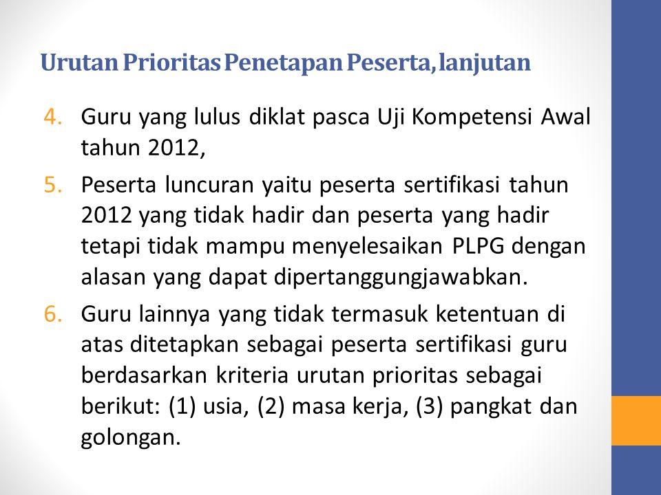 Urutan Prioritas Penetapan Peserta, lanjutan 4.Guru yang lulus diklat pasca Uji Kompetensi Awal tahun 2012, 5.Peserta luncuran yaitu peserta sertifika