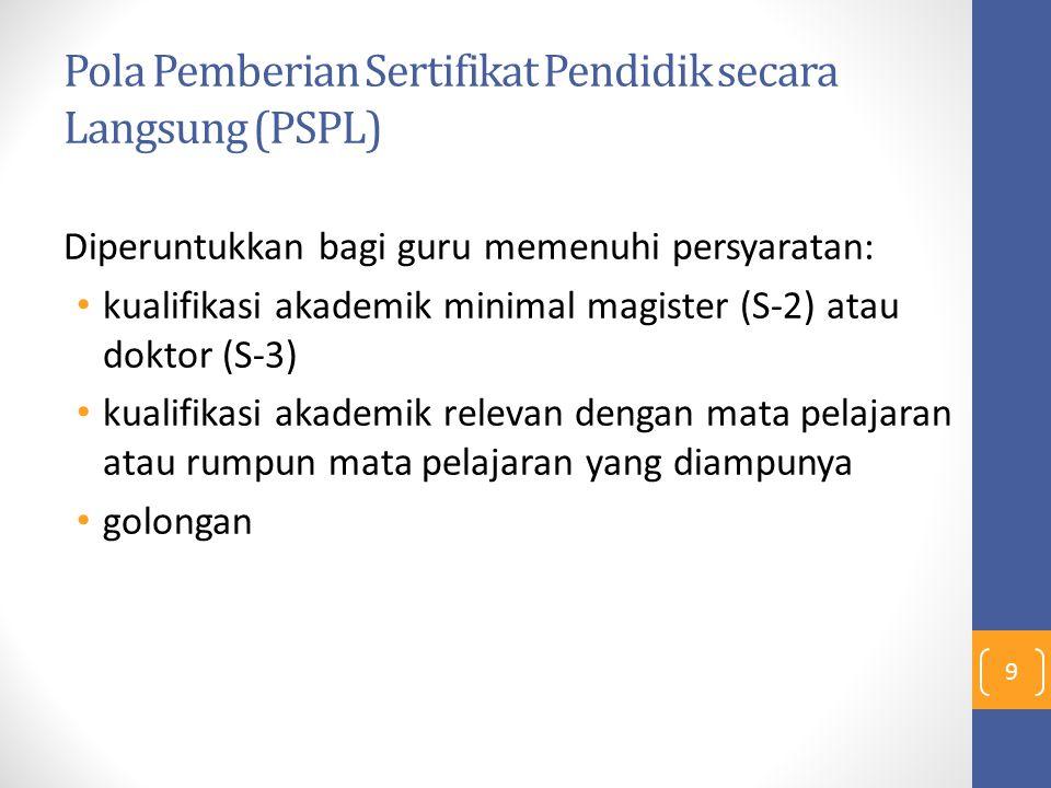 Pola Pemberian Sertifikat Pendidik secara Langsung (PSPL) Diperuntukkan bagi guru memenuhi persyaratan: kualifikasi akademik minimal magister (S-2) at