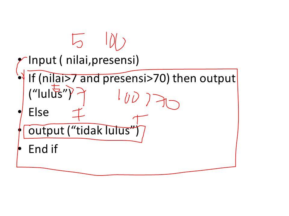 """Input ( nilai,presensi) If (nilai>7 and presensi>70) then output (""""lulus"""") Else output (""""tidak lulus"""") End if"""