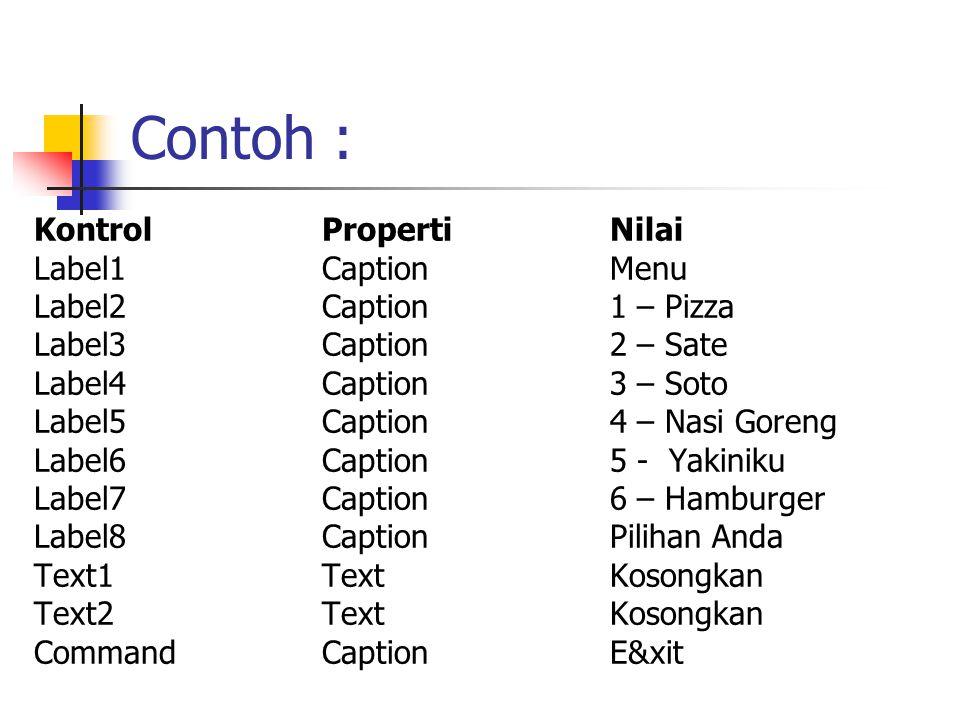 Contoh : KontrolPropertiNilai Label1CaptionMenu Label2Caption1 – Pizza Label3Caption2 – Sate Label4Caption3 – Soto Label5Caption4 – Nasi Goreng Label6