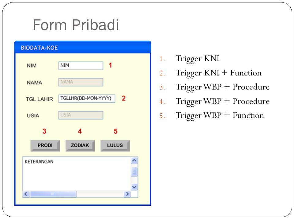 Form Pribadi 1. Trigger KNI 2. Trigger KNI + Function 3.