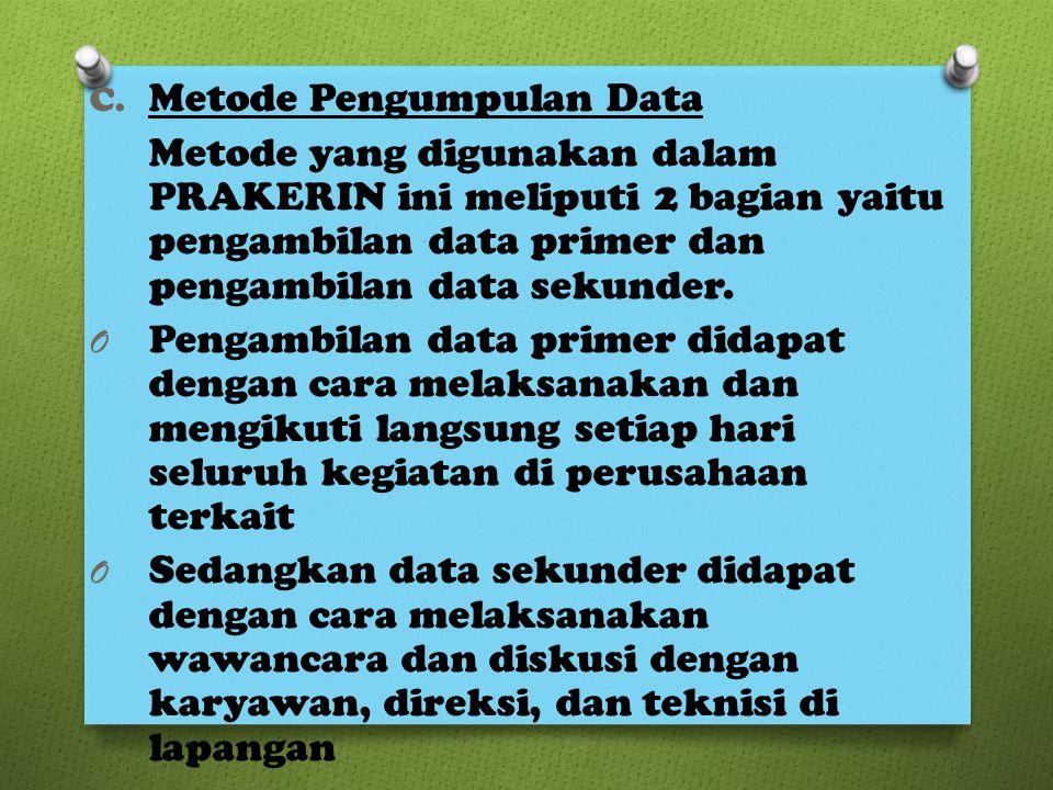 C. Metode Pengumpulan Data Metode yang digunakan dalam PRAKERIN ini meliputi 2 bagian yaitu pengambilan data primer dan pengambilan data sekunder. O P