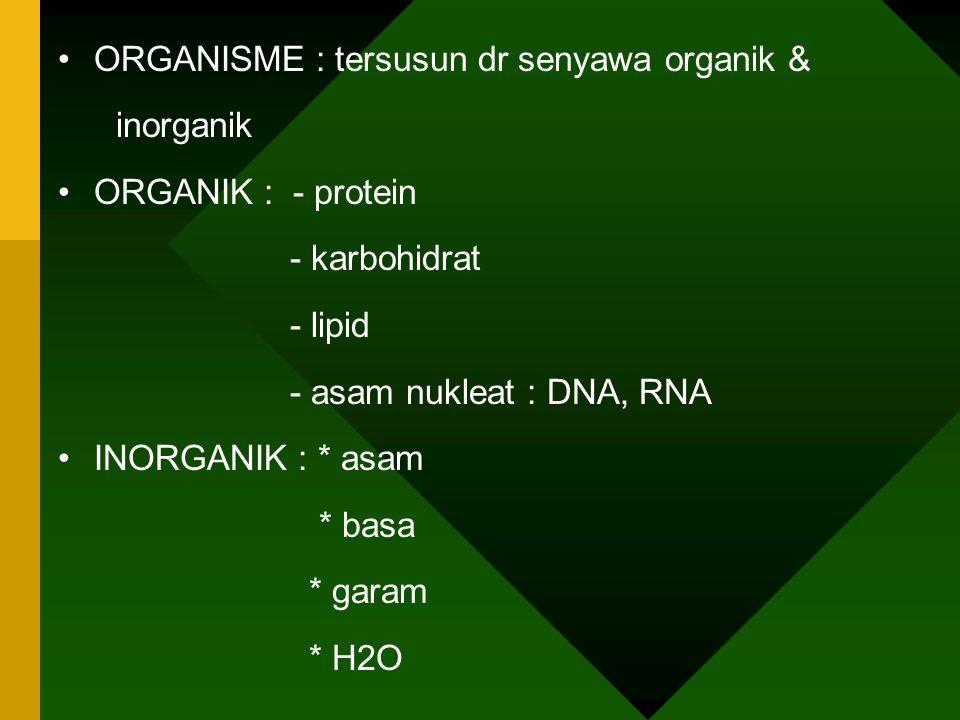 Pembagian Biomolekul : 1. Biomolekul sederhana * Monosakarida * Asam amino * Asam lemak 2.