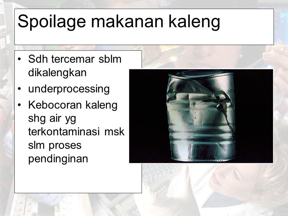 Spoilage makanan kaleng Sdh tercemar sblm dikalengkan underprocessing Kebocoran kaleng shg air yg terkontaminasi msk slm proses pendinginan
