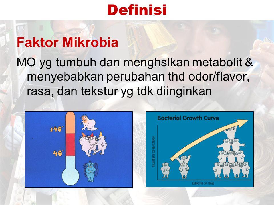 Pertumbuhan Mikrobia dan Kerusakan Makanan Kerusakan makanan –Mrpk hsl dari pertumbuhan mikrobia dlm makanan –Melibatkan suksesi mikrobia –BM yg berbeda mengalami proses kerusakan yg berbeda –Racun2 kadang2 dpt diproduksi slm proses kerusakan berlangsung Cth algal toxin pd seafood
