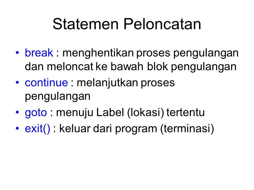 Statemen Peloncatan break : menghentikan proses pengulangan dan meloncat ke bawah blok pengulangan continue : melanjutkan proses pengulangan goto : me