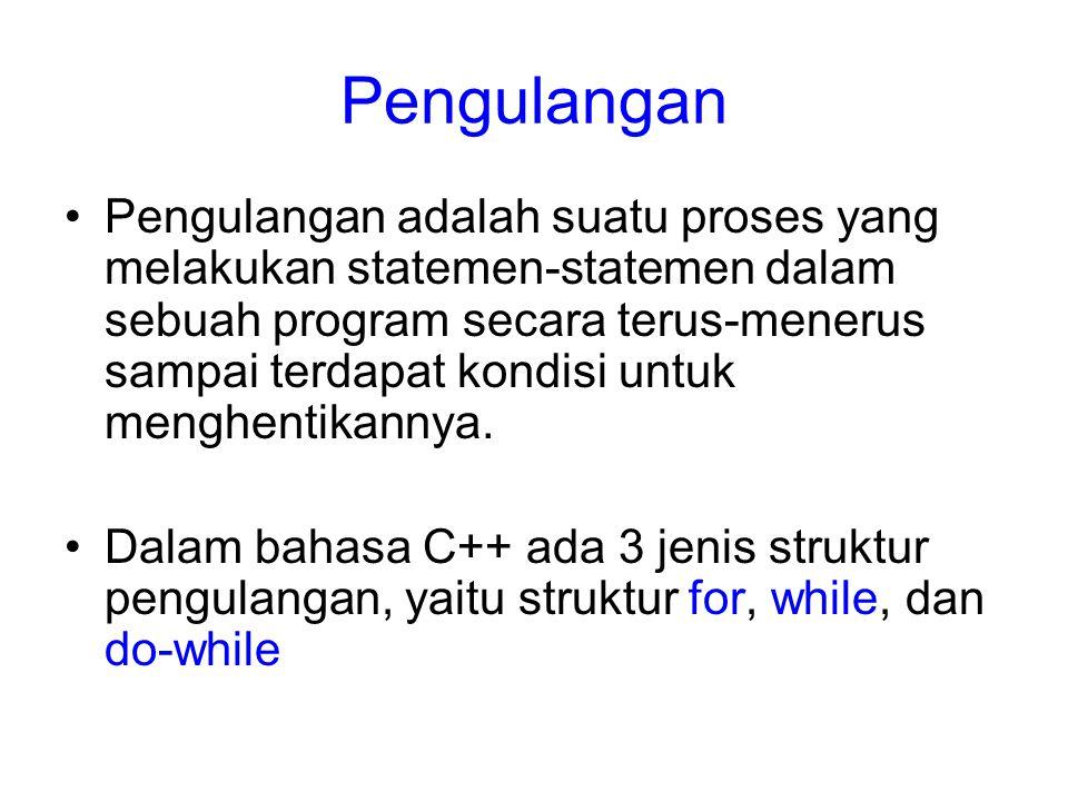 Struktur for for (variabel= nilai awal; kondisi; variabel++) { Statement yang akan diulang # include using namespace std; int main() { int C; for (C=0;C<10;C++) { cout<< Saya suka nasi goreng <<endl; } return 0; }