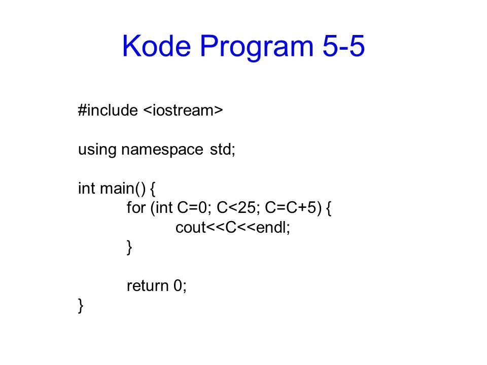 Struktur for dengan banyak variabel #include using namespace std; int main() { char A; int B; int C; for (A= a ,B=0, C=1; A<= c ; A++, B=B+5, C=C*2) { cout<< Nilai A = <<A<<endl; cout<< Nilai B = <<B<<endl; cout<< Nilai C = <<C<<endl; } return 0; }