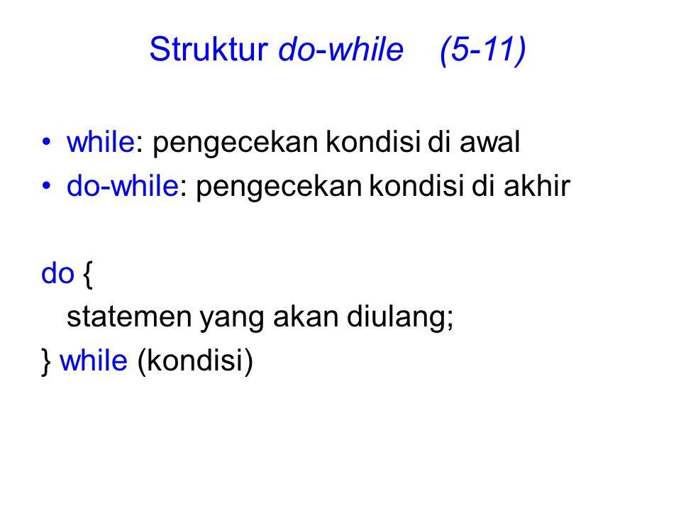 while: pengecekan kondisi di awal do-while: pengecekan kondisi di akhir do { statemen yang akan diulang; } while (kondisi) Struktur do-while (5-11)