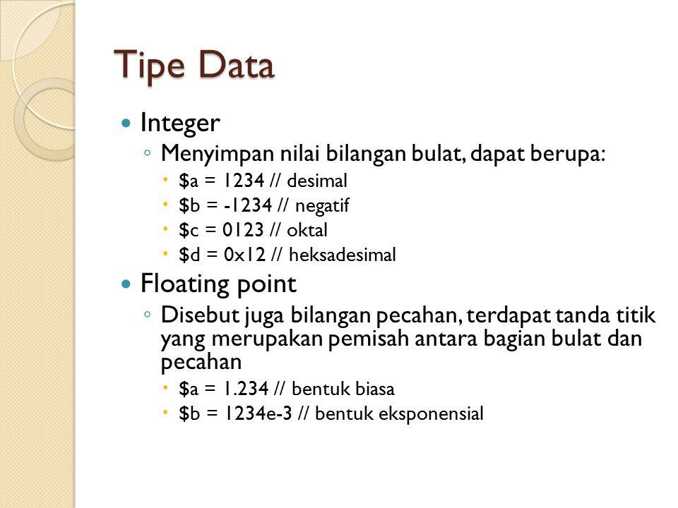 Tipe Data String ◦ $a = ini adalah tipe data string Boolean ◦ Mirip seperti pada Perl, nilai 0 atau 0 dianggap false, selain itu dianggap true Null ◦ Merepresentasikan variable yang tidak memiliki nilai.
