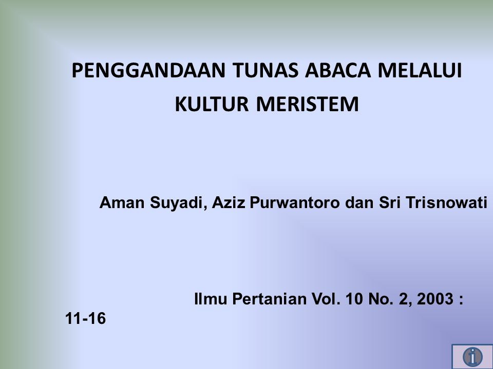 PENGGANDAAN TUNAS ABACA MELALUI KULTUR MERISTEM Aman Suyadi, Aziz Purwantoro dan Sri Trisnowati Ilmu Pertanian Vol. 10 No. 2, 2003 : 11-16