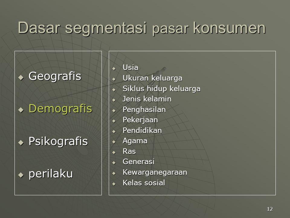 12 Dasar segmentasi pasar konsumen  Geografis  Demografis  Psikografis  perilaku  Usia  Ukuran keluarga  Siklus hidup keluarga  Jenis kelamin
