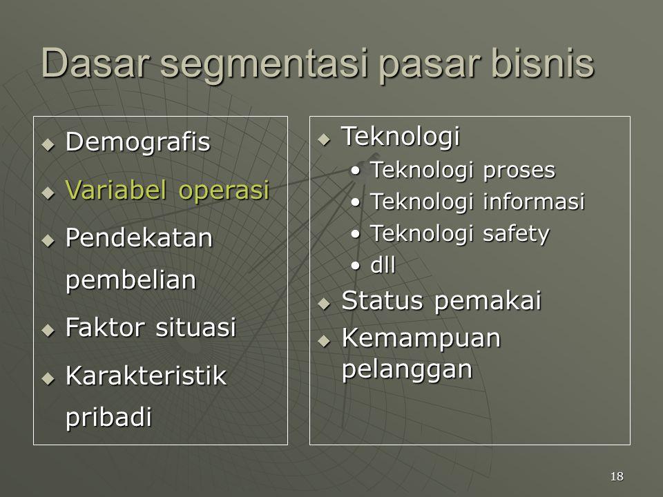 18 Dasar segmentasi pasar bisnis  Demografis  Variabel operasi  Pendekatan pembelian  Faktor situasi  Karakteristik pribadi  Teknologi Teknologi