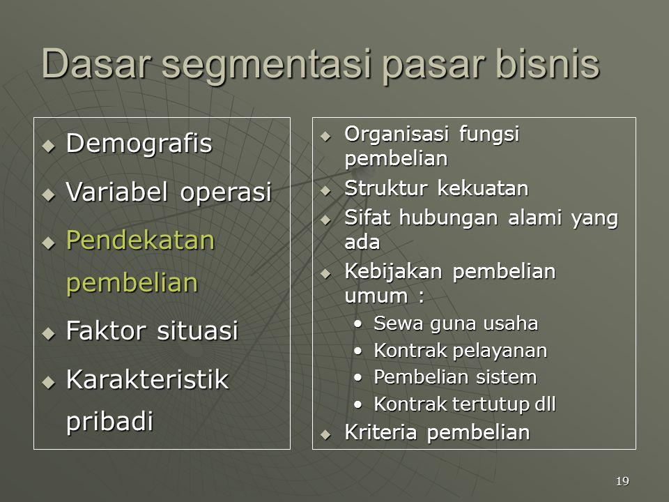 19 Dasar segmentasi pasar bisnis  Demografis  Variabel operasi  Pendekatan pembelian  Faktor situasi  Karakteristik pribadi  Organisasi fungsi p