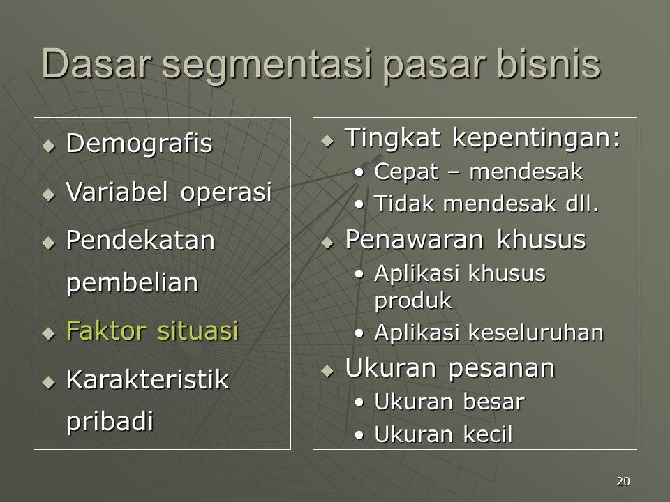 20 Dasar segmentasi pasar bisnis  Demografis  Variabel operasi  Pendekatan pembelian  Faktor situasi  Karakteristik pribadi  Tingkat kepentingan