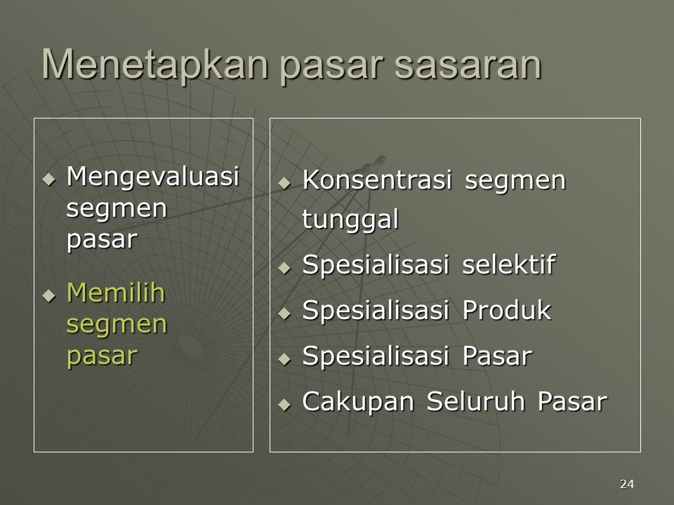 24 Menetapkan pasar sasaran  Mengevaluasi segmen pasar  Memilih segmen pasar  Konsentrasi segmen tunggal  Spesialisasi selektif  Spesialisasi Pro