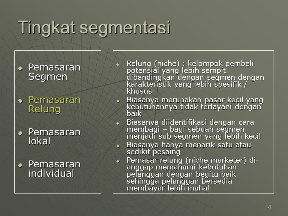4 Tingkat segmentasi  Pemasaran Segmen  Pemasaran Relung  Pemasaran lokal  Pemasaran individual  Relung (niche) : kelompok pembeli potensial yang